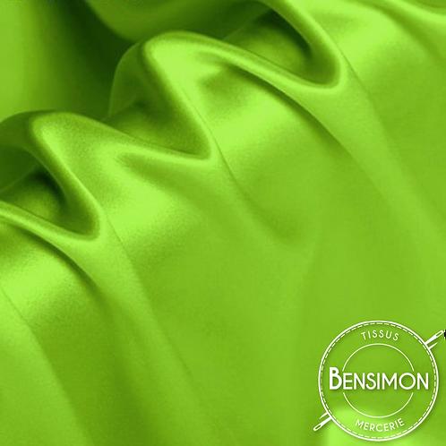 Tissu satin premium - Vert acide X 50cm