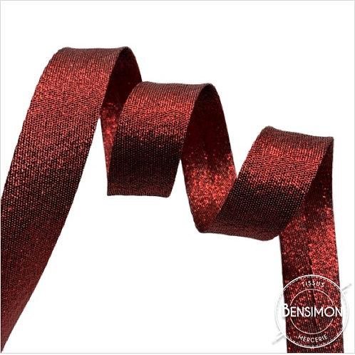 Biais lamé replié 18mm - Lurex rouge