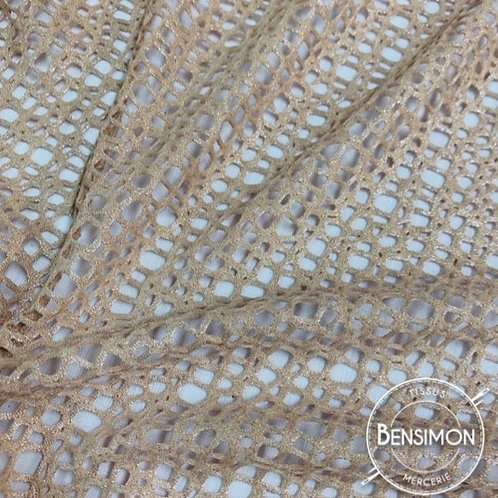 Tissu Résille élasthanne lurex - Chair X 50cm