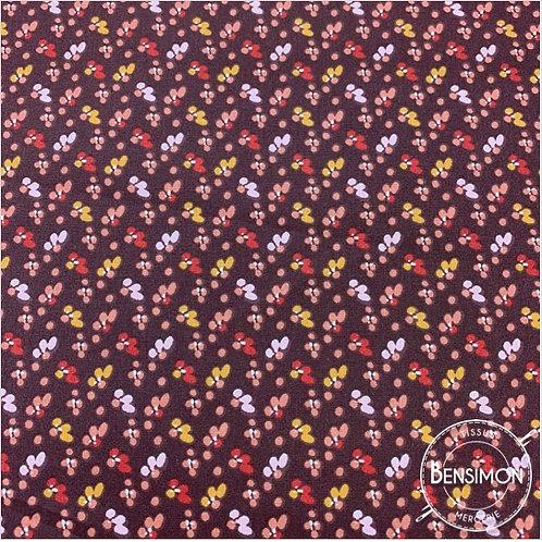 Tissu coton imprimés - Liberty PIO lie de vin X 50cm