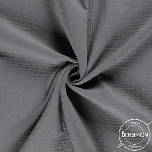 double gaze coton oekotex lange gris moyen
