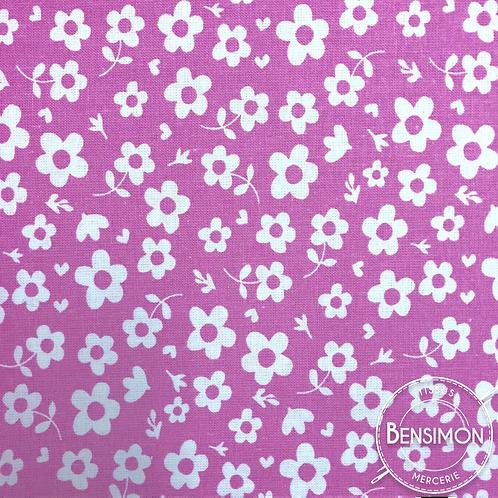 Tissu coton imprimés - Vintage fleur rose X 50cm