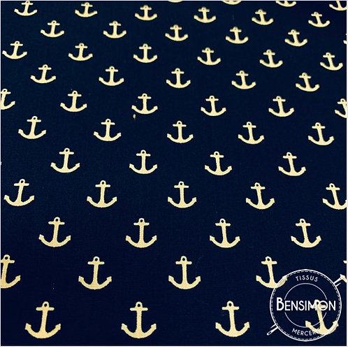 Tissu coton imprimés - Ancres bleu marine X 50cm