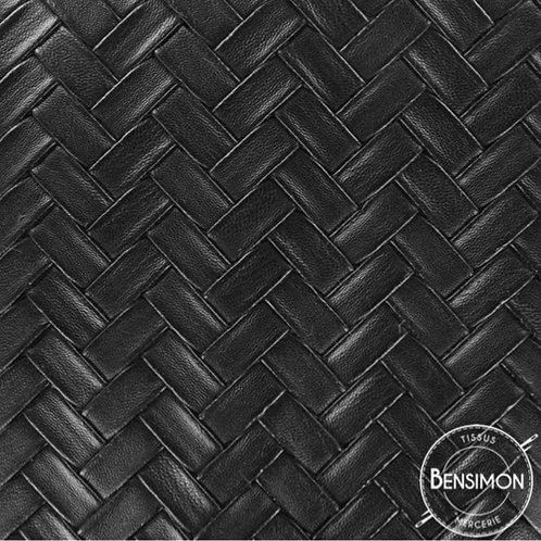 Tissu Simili Cuir Tressé - Noir X 50cm