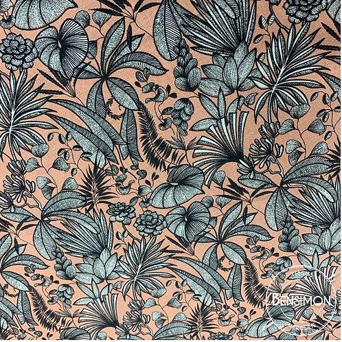 Tissu coton imprimés - Feuillage monochrome saumon X 50cm