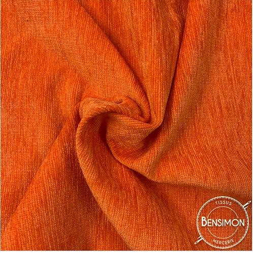 Tissu Velours ras d'ameublement - Orange X 50cm