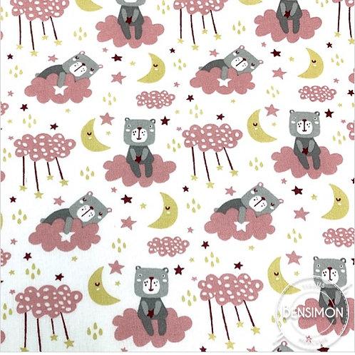 Tissu coton imprimés - Ourson nuage rose X 50cm