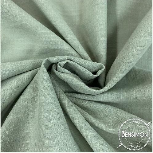 Tissu crêpe de coton uni - Céladon X 50cm