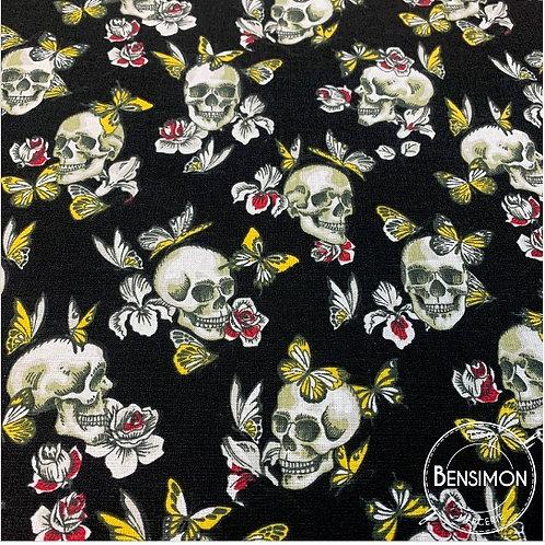 Tissu coton imprimés - Skull tête de mort papillon noir X 50cm