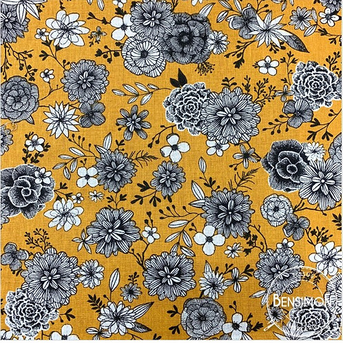 Tissu coton imprimés - Floral safran X 50cm