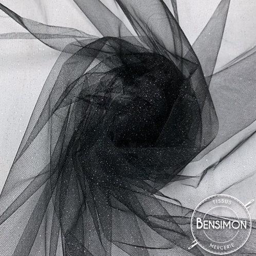 Tissu Tulle à paillettes - Noir X 1M