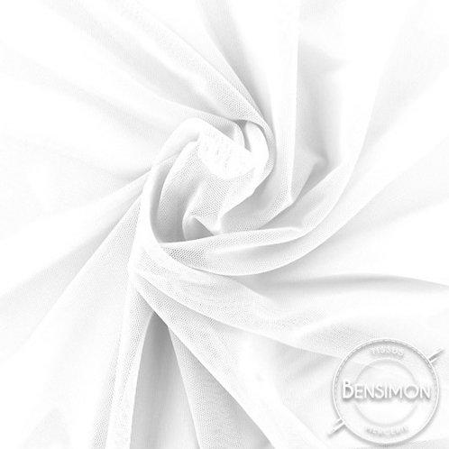 Tissu Tulle élasthanne résille - Blanc X 1M