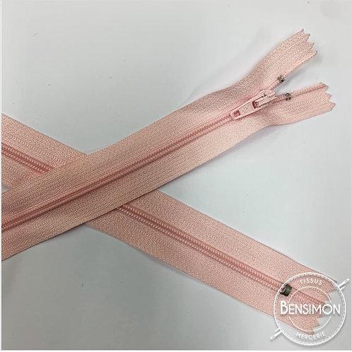 Fermetures nylon 3mm non séparables - Rose pale 20 à 60cm