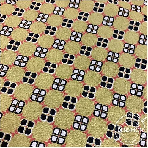 Tissu coton imprimés - Wax Moutarde X 50cm