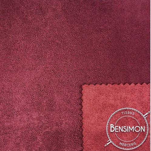 Tissu Suédine épaisse bicolore - Bordeaux & Griotte X 50cm