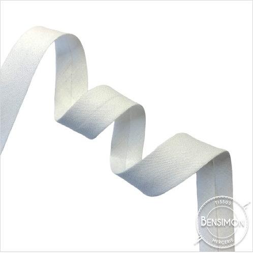 Biais coton replié 20mm - Blanc n°1000
