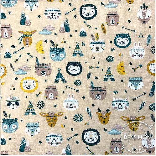 Tissu coton imprimés - Tipi animaux moutarde pétroleX 50cm