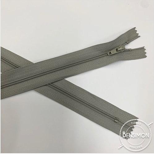 Fermetures nylon 3mm non séparables - Gris clair 20 à 60cm