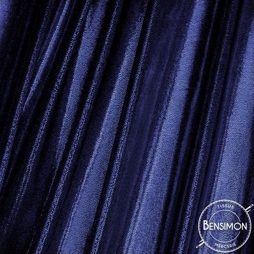 Tissu extensible Lycra stretch lamé brillant pailleté justaucorps académique bleu marine