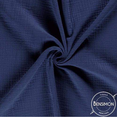 double gaze coton oekotex lange bleu marine