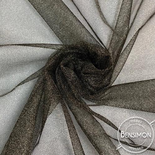 Tissu Tulle à paillettes - Bronze or X 1M