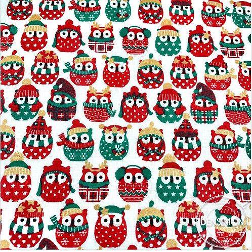 Tissu coton imprimés - Mini hiboux Noël or lurex X 50cm