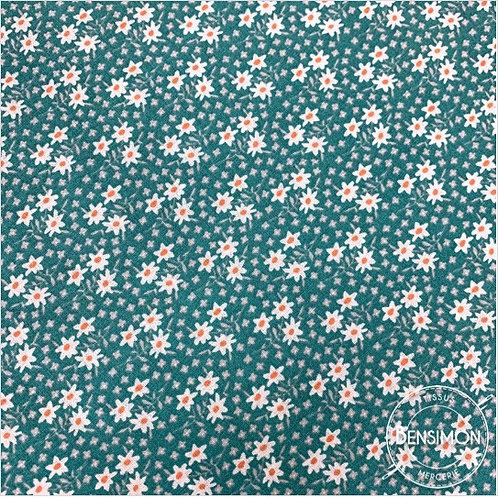 Tissu coton imprimés - Fleurs midinettes émeraude X 50cm