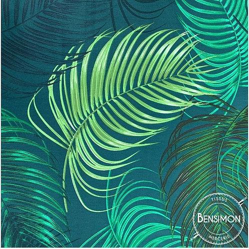 Tissu 100% sergé coton - Feuillages Arenga X 50cm