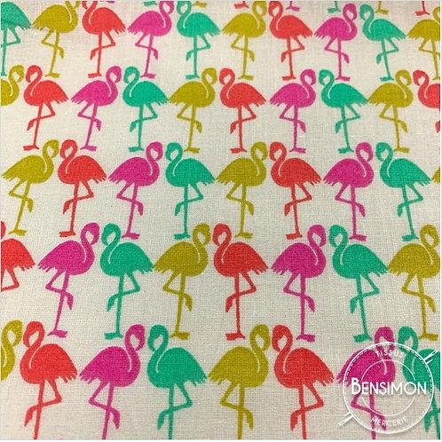 Tissu coton imprimés - Flamant multi couleurs X 50cm