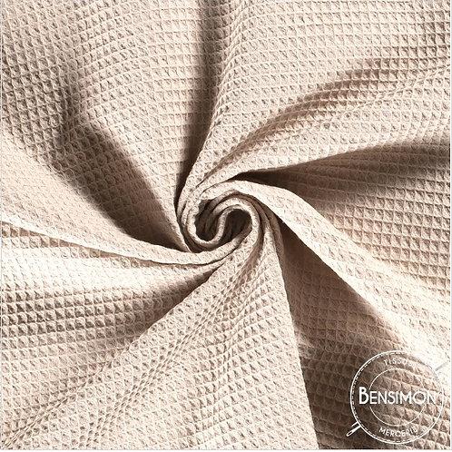Tissu éponge nid abeille OekoTex - Beige clair X 50cm