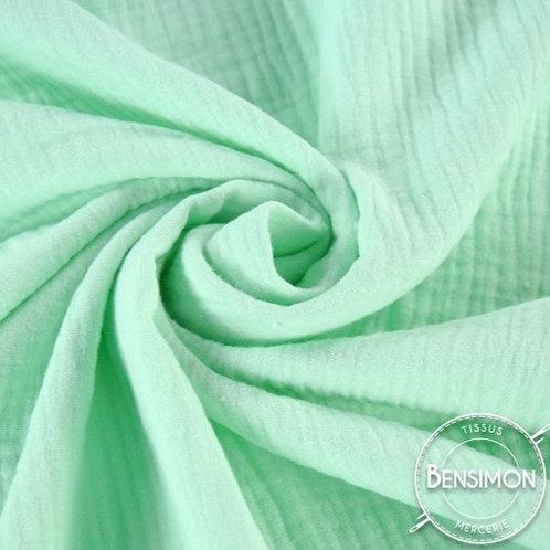 double gaze coton oekotex vert d'eau pale