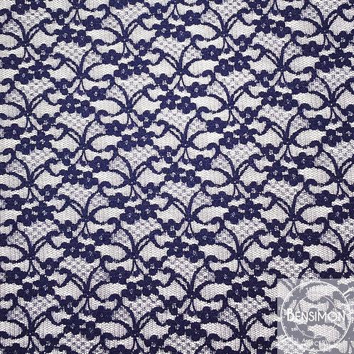 Dentelle résille 1.000 fleurs - Bleu Marine X50cm