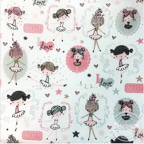Tissu coton imprimés - Danseuse Mélissa X 50cm