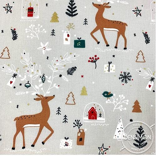 Tissu coton imprimés - Caribouh Noël X 50cm