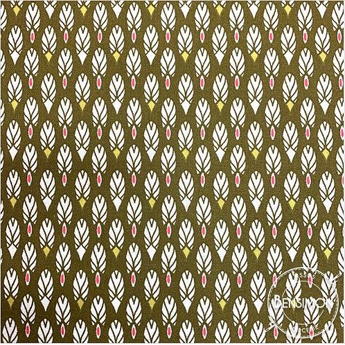 Tissu coton imprimés - Plumes Kaki X 50cm