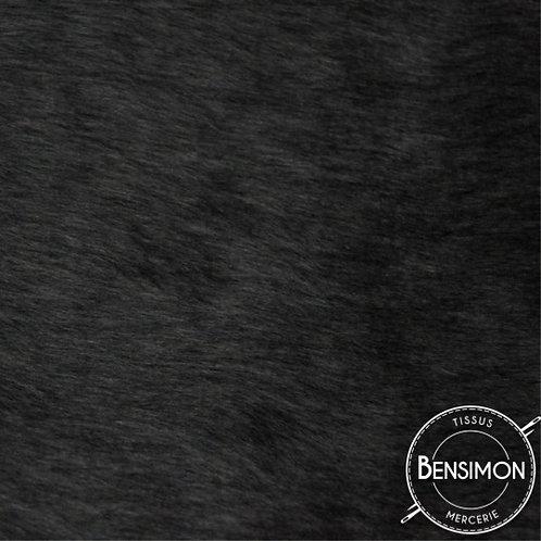 Tissu effet Fourrure poils courts - Noir X 50cm
