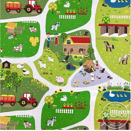 Tissu coton imprimés - Tapis de jeu à la ferme X 50cm