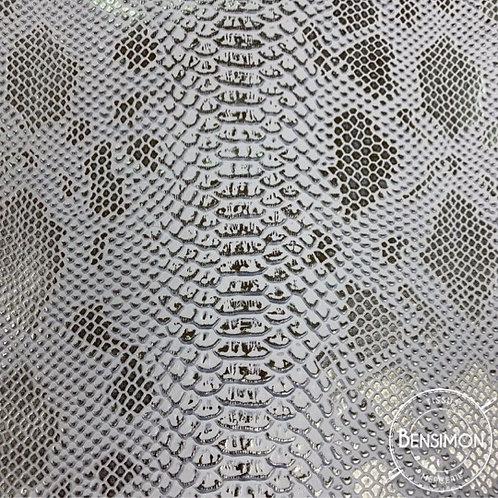 Tissu Simili Cuir Komodo - Blanc Argenté X 50cm