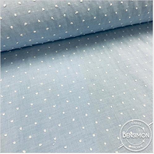 Tissu popeline coton plumetis - Bleu ciel X 50cm