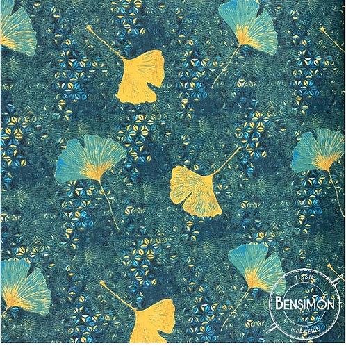 Tissu coton imprimés - Ginkgo Shandong pétrole X 50cm