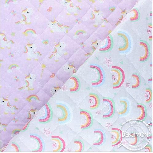 Tissu Matelassé molleton imprimé coton  - Licorne Arc en ciel X 50cm