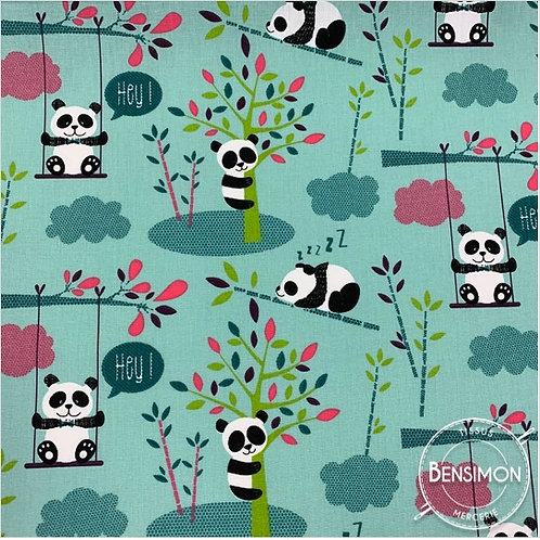 Tissu coton imprimés - Pandi Panda vert menthe X 50cm
