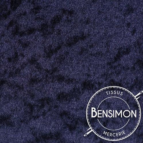 Tissu Panne de Velours - Bleu marine X 50cm