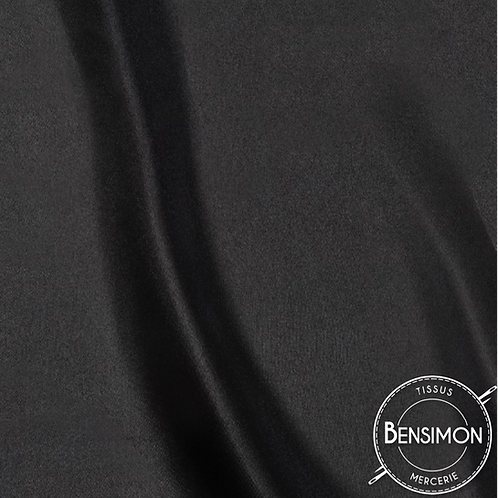 Tissu satin uni léger - Noir X 50cm