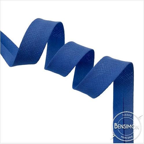 Biais coton replié 20mm - Bleu cobalt n°1158