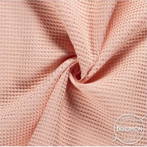 Tissu éponge nid abeille OekoTex - Saumon X 50cm