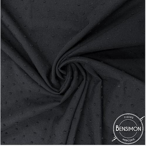 Tissu popeline coton plumetis - Noir X 50cm