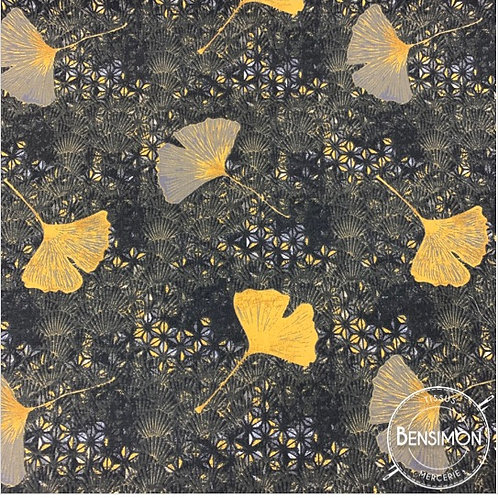 Tissu coton imprimés - Ginkgo Shandong moutarde X 50cm