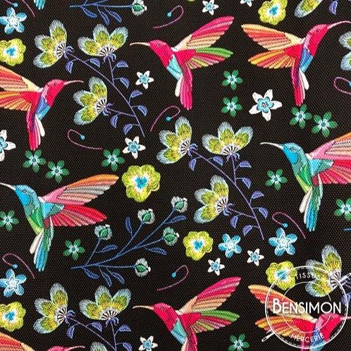 Simili cuir fleurs oiseaux colibri noir