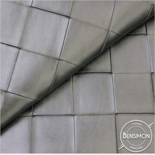 Tissu Simili Cuir Carreaux 3D - Argent nacré X 50cm